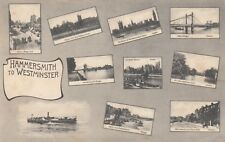 London Multi View Postcard. Hammersmith to Westminster. Along Thames. Rare! 1906