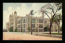 School postcard Joliet, Illinois IL High School view Vintage