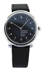 Mondaine MH1.R2220.LB Helvetica No1 Regular BLK Dial Men Leather Watch New