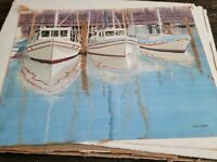 """Watercolor Original Painting 26x20 """"Boats in the Harbor"""" San Diego Hurd Signed"""