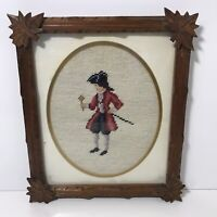 """VTG Completed Needlepoint Colonial Red Coat Cross Stitch Framed Picture 11""""x13"""""""