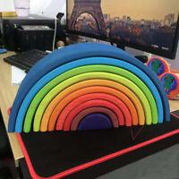 Wooden Rainbow Stacking Blocks Montessori Kids Preschool Educational Toys