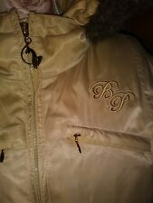 Baby Phat Jacket Padded Coat Gold Bling Fur Leopard Cat Hooded size L VGC
