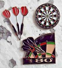 Set 3 Darts Enamel Pin Badges Dartboard Flight of 3 darts 180 Treble 20