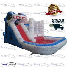 20x13ft Commercial Inflatable Shark Bounce House & Water Slide With Air Blower