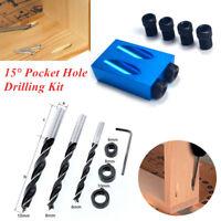 14PCS/Set 15° Pocket Hole Drilling Kit Woodworking Oblique Drill Guide/Bits Kit