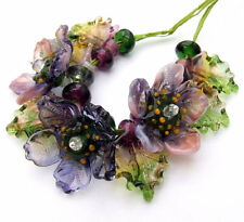 Silvia~Handmade lampwork glass flower beads~purple flowers~Made to Order~SRA