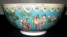 Antique Ancient Chinese Figures Painted Bowl, 19th Century.