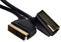 1m SCART LEAD GOLD Fully Wired 21 Pin TV CABLE
