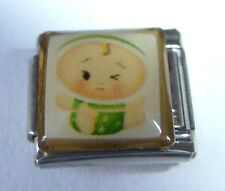 BABY Italian Charm BY29 - fits ALL 9mm Starter Bracelets Green Outfit New Babies