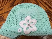 Handmade Crochet Acrylic Mint Green w/Flower Brim Hat Size Medium