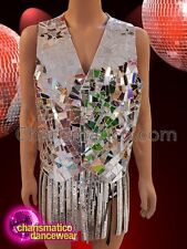 CHARISMATICO Silver mirror cut out men's vest and fringe skirt