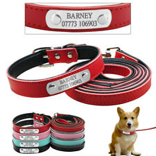 Custom Personalized PU Leather Dog Collar and Leash Set Small Adjustable Yorkie