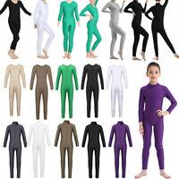 Kids Girl Long Sleeve Ballet Dance Gymnastics Leotard Jumpsuit Unitard Dancewear