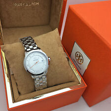 New Tory Burch TORY Small Stainless Steel Logo Women's watch TRB1010 SWISS MADE