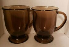 Anchor Hocking 2pc Amber,Brown Glasses 16oz Heavy Footed Coffee Cup Tea Mug Set