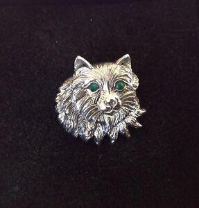 Animal Cat Brooch Emerald Sterling Silver Persian Ragdoll Pin vintage design New