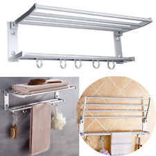 2-Tier Foldable Bathroom Towel Rack Holder Hanger Wall Mounted Shelf With 5Hooks