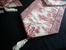 """80"""" RED ON CREAM~WAVERLY Country Life Toile/Checked~Lined Tablerunner Tassels!"""