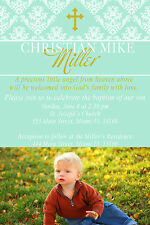 30 Invitation Baby Baptism Christening Photo Card Personalized Green Gold