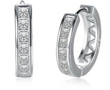 Inlay Earrings Women's Jewellery Aus Ladies 925 Sterling Silver Hoops Huggie Cz