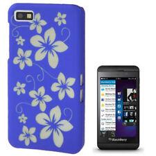 Hardcase Gravur Style Schutzhülle für BlackBerry Z10 Blumen blau Hülle Cover