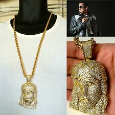 """MENS JESUS PENDANT 14K GOLD FILLED STAINLESS STEEL 6MM 30"""" ROPE CHAIN NECKLACE"""
