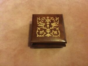 Beautiful Patterned Wood Marquetry Lined Hinged Trinket Box