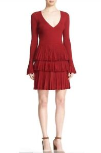 DVF Diane Von Furstenberg SHARLYNN Fit & Flare Knit Dress RED Size L $498 NWT