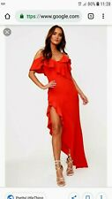 PLT Pretty Little Thing Red Orange Asymmetric Ruffle Maxi Dress size 6