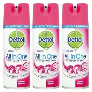 3 x Dettol - Orchard Blossom - All in One Spray - 400ml - Disinfectant