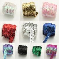 Chenkou Craft New 10Y Beautiful Sequin Elastic Stretch Ribbon Trim Craft Sewing Trimming Fuschia