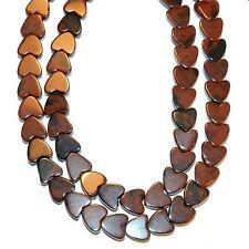 """NG2559f Mahogany Brown Obsidian 6mm Flat Heart Natural Gemstone Beads 15"""""""