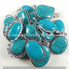 Turquoise Gemstone 5 Pcs Wholesale Lots 925 Sterling Silver Plated Pendant