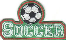 """SOCCER"" PATCH w/BALL - Iron On Embroidered Applique - Soccer, Sports. Player"