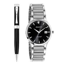 Accurist Gents Diamond Stainless Steel Watch & Pen Set      MB1066B.00-NEW
