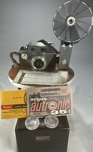 Vintage ARGUS Autronic 35 Camera w/Orig Case/Strap/Manual/Flash/Lenses F35...