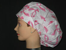 Surgical Scrub Hats/Caps Breast Cancer Awareness White w/ribbons & polka dots