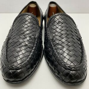 Johnston Murphy Domani Black Woven Leather Venetian Moc Toe Loafer US 9 M
