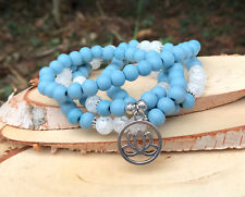 Mala 108 Perlen Kette Lotus Bergkristall Holz Mala Halskette