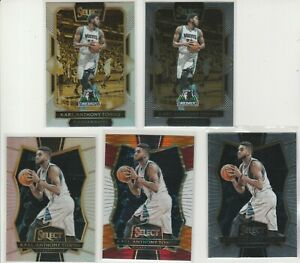 KARL-ANTHONY TOWNS 2016-17 SELECT RAINBOW LOT (5) W/ COURTSIDE SILVER PRIZM #276