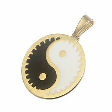 Ying Yang Round Pendant 18k Gold Plated - Ying Yang Necklace 20 inch Chain