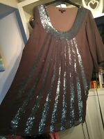 "W12 Rise Plus Sz 26 Grey Sequin Embellished Floaty Tunic 36""Long Swing Dress Nwt"