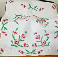 Poppy Applique Quilt ~Pink & Rose Full Size Q uilt 84 x 74 Inches Hand Quilted