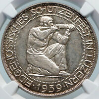 1939 B SWITZERLAND LUCERNE Large Antique Swiss Silver 5 Francs Coin NGC i85316