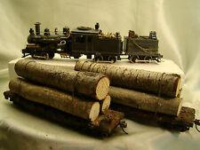AHM Heisler Logging Steam Locomotive  3 Track  - custom weathered - plus 5 cars