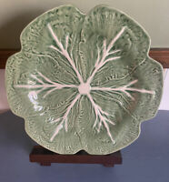"Bordallo Pinheiro Large Green Cabbage Lettuce Leaf Salad Plate Platter 12"" Dia"