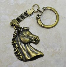 Vintage Bronze Horse Head Keychain, Bag charm, Ladies Men, Girls Boys Gift