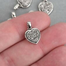 2 Silver Titanium Druzy Quartz Charms Heart Silver Brass 17x11mm chs4391
