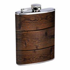 Brown Wood Em1 Flask 8oz Stainless Steel Hip Drinking Whiskey